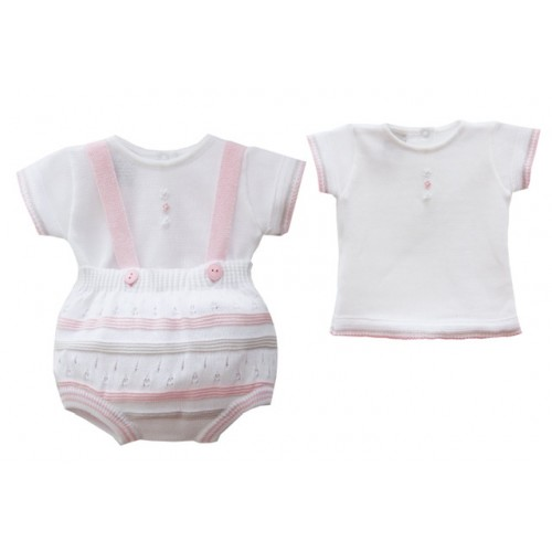 Baby Girls Knit Top & Dungaree Set